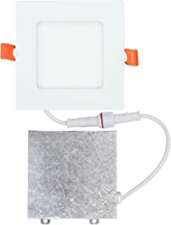 OSTWIN 4 inch 9W (45 Watt Repl.) IC Rated LED Recessed Low Profile Slim Square Panel Light with Junction Box, Dimmable, 4000K Bright Light 630 Lm. No Can Needed ETL & Energy Star Listed