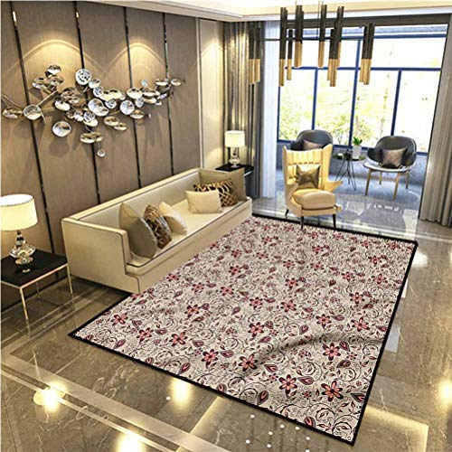 Floral Modern Soft Rug Pad Blossoming Spring Retro Kids Home Decor Rugs 6 x 8.8 Ft