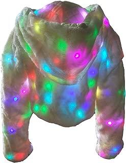 Led Light UP Costumes Luminous Coat Dance Show Faux Fur Coat Nightclub Christmas Outwear Jacket