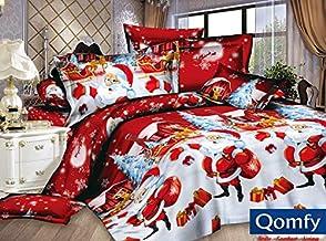 Father Christmas Santa Presents Xmas Quilt Duvet Cover & Pillowcase Bedding Bed Set, Multi-Colour Santa Claus Duvet Cover ...