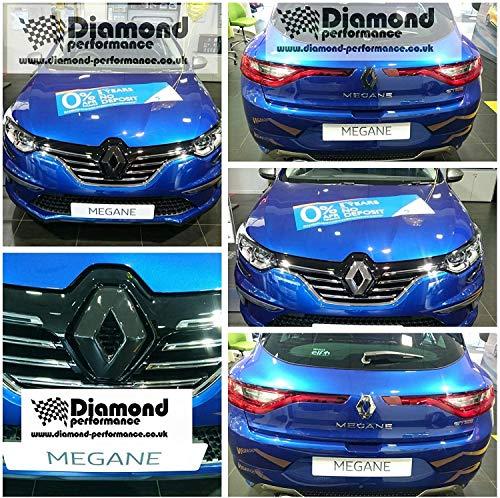 Renault Megane MK4, Rs, Gt (2016-2019), Glanz Schwarz Abzeichen Bezüge Vorne und Hinten (für Autos Ohne Rückfahrkamera Halterung)