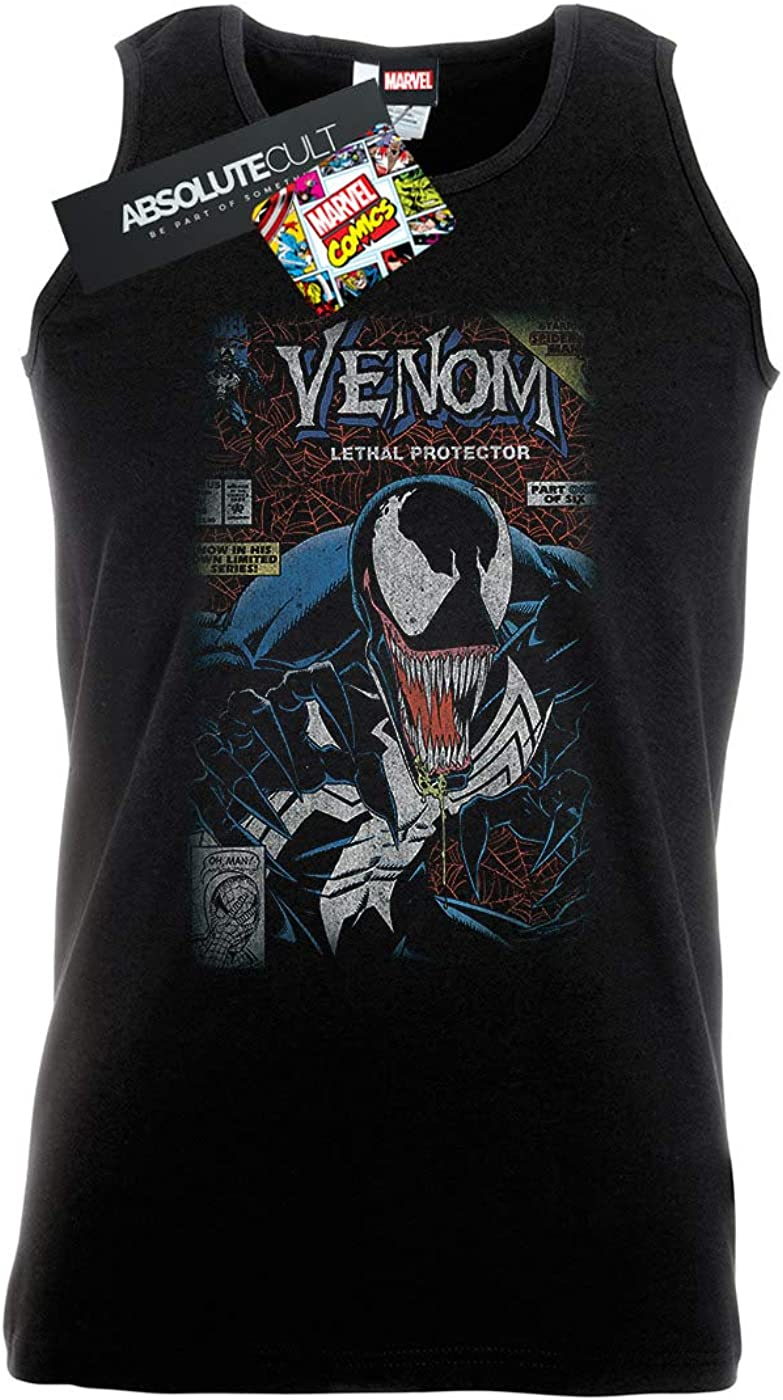 Marvel Men/'s Venom Comic Cover Distressed Vest