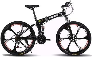 Mountain Bike,Bicicleta de montaña Plegable 26 Pulgadas,Todoterreno Adultos, velocidades 21,24,27, neumáticos Resistentes y Freno de Doble Disco,10 cortadores de Rueda,Negra VIHII,21-Speed Shift