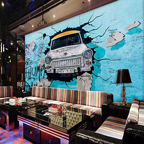 Mural Non Woven 3D Effect Wallpaper 200 * 150Cm Blue Car Personality Creative Graffiti Self-Adhesive 3D Wall Stickers for Girls Room Wall Decal Poster Picture Holiday Gift Decoration