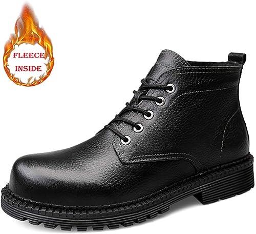 Bottes de Travail pour Hommes, Tenue décontractée d'hiver Simple en Fausse Toison d'hiver (Bricolage en Option),2018 Chaussures Homme Bottes et bottes (Couleur   Warm noir, Taille   38 EU)