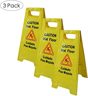 LTF Wet Floor Sign Safety Warning Caution Board with English and Spanish Language Floor Stand Caution Board for Tumble and Slipery Prevention, Pack of 3