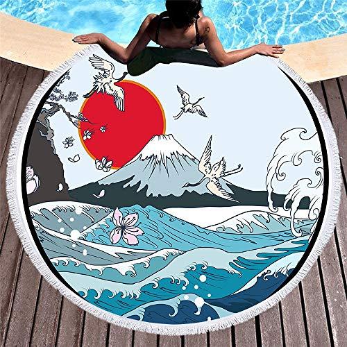 DKee Toallas de baño retro redondo personalizado impresión suave microfibra cojín de piscina secado rápido 150 x 150 cm
