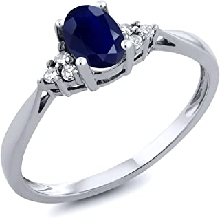 14K White Gold Blue Sapphire and Diamond Women's Engagement Ring (0.61 Cttw, Available 5,6,7,8,9)