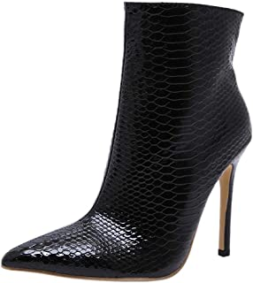 KemeKiss Women Stiletto High Heel Ankle Boots Pointed Toe Zip