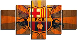 FC Barcelona Poster Wall Decor for Home Painting 5 Piece Canvas Prints Soccer Wall Art Picture Football Poster with Frame Ready to Hang(60''Wx32''H)