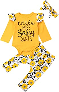 Toddler Baby Girls Miss Sassy Pants Outfit Winter Clothes Ruffle Long Sleeve T-Shirt+Floral Pants Infant 2 Piece Sets