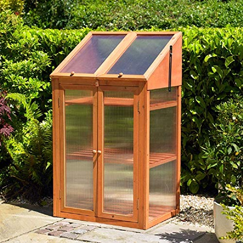 ProSource Wooden Greenhouse Cold Frame With Transparent Double Glazed windows 120 x 69 x 51 cm