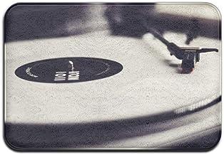 Vinyl Record Player Black White Doormats Anti-Slip House Garden Gate Carpet Door Mat Floor Pads