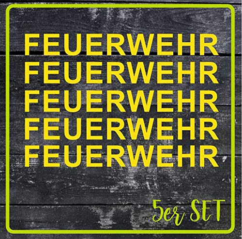 FireFighter 5er Set Feuerwehr Aufkleber Autoaufkleber Waschstraßenfest 30 cm rot (Gelb, 30 cm)