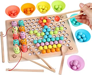 Children's Educational Memory Fishing Clip Beads Three-In-One Wooden Toy Hand-Eye Coordination Puzzle Billiard Game