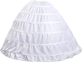 Mojonnie 6-Hoops Hoop Skirt Crinoline Petticoat for Wedding Dress Crinoline Underskirt Ball Gown Petticoat for Women Hoopless
