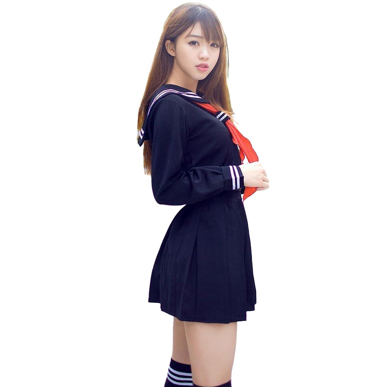 (アクアランド) AQUALAND セーラー服 コスプレ 女子高生 JK 学生 コスチューム 定番 人気 スカート リボン ハイソックス 付き 4点セット (Mサイズ)