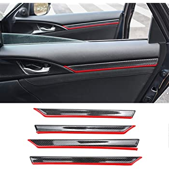 For Honda Civic 10th 2016 2017 8Pcs ABS Carbon Fiber Style Door Trim Decal Cover