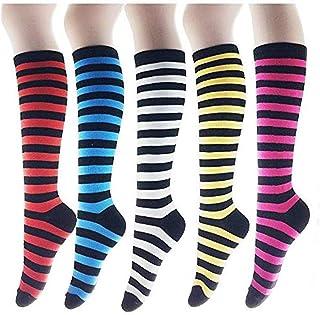 Dusenly, 5 pares de calcetines altos a la rodilla para mujer en pantorrilla a rayas calcetines escolares, multicolor, talla única