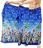 LA LEELA Sarong Pareo para Cubrir la Piel del Abrigo Hombres Ropa de Playa de baño Traje de baño de natación Aloha Traje Azul 72'X42'