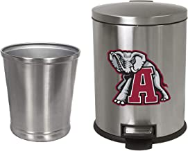 NEW! 3.1 Gallon Oval Stainless Steel Step Trash Can Featuring Your Choice of a Sports Team Logo and an Additional Stainless Steel Round Waste Basket - FREE trash liners included! (Crimson Elephant)
