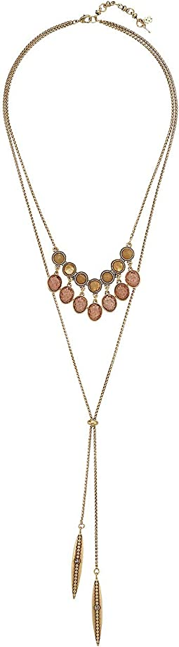 Druzy Layered Lariat Necklace