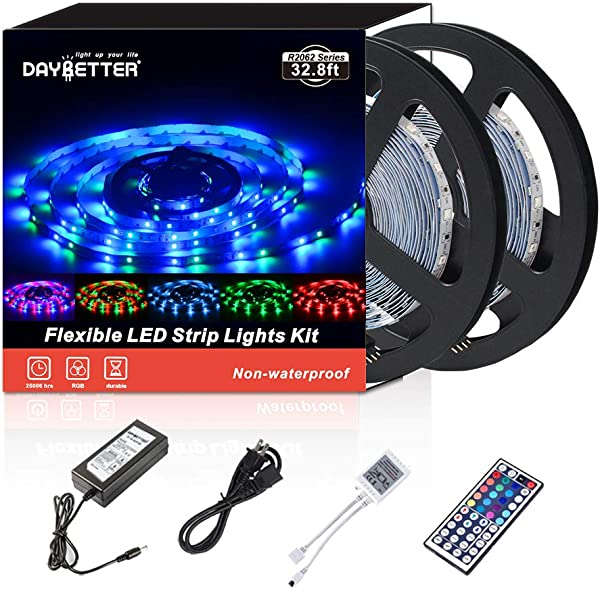 Led Strip Lights 32 8ft 10m 600LEDs Non Waterproof Flexible Color Changing RGB SMD 3528 LED Strip Light Kit With 44 Keys IR Remote Controller And 12V Power Supply NO White Color