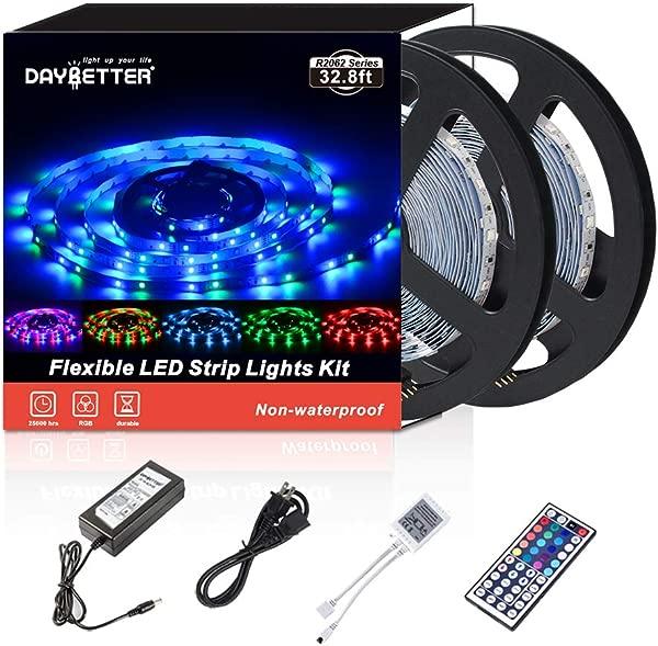 Led 条灯 32 600 10 米 3528 LED 非防水灵活的变色 RGB SMD Led 条灯套件 44 键红外遥控器和 12v 电源无白色