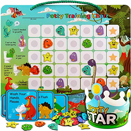 Product Image of the Potty-Training-Chart-with-35 Reusable Magnetic-Stickers. A Dinosaur Potty Chart...