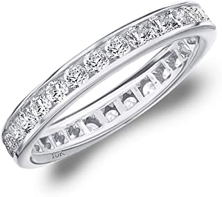 1CT Classic Channel Set Diamond Eternity Ring, 1.0CTTW Wedding Anniversary Band in 10K Gold