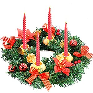 TURNMEON 14 Inch Christmas Advent Wreath Decoration 4 Candles Holder with 4 Golden Pine Cone 4 Ribbon 4 Glitter Poinsettia 12 Red Berry 6 Ball Advent Wreaths Season Centerpiece Xmas Holiday Home Decor