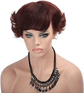 Hairpieces Hair Extension Red Curly Human Wig Bangs Black Curly Short Wig Hair Weave