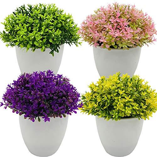Fycooler Mini Plantas Artificiales Decorativas Verde Plantas Artificiales Plásticas Flor pequeñas en Maceta Hierba de Arbustos de Imitación para Decoración del Hogar o la Oficina - Paquete de 4