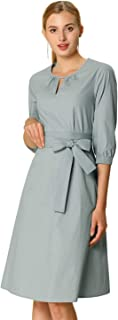 Women's Casual A-line Solid Color Dress Round Keyhole Neck Elbow Sleeve Dresses