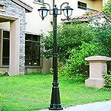 American Post Light Retro Creative Double,Three-head E27 Lampada da esterno a palo in alluminio Lampione stradale impermeabile Illuminazione da giardino Lampione da giardino Villa Lampada da paesaggio