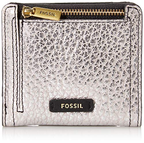 Fossil Women's Logan Leather RFID Bifold Wallet, Metallic