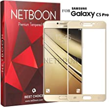 NETBOON® Tempered Glass 9H Hardness 2.5D Gold Curved Edge Scratch Resistant With Edge To Edge Protection Screen Protector Guard for Samsung Galaxy C5 Pro
