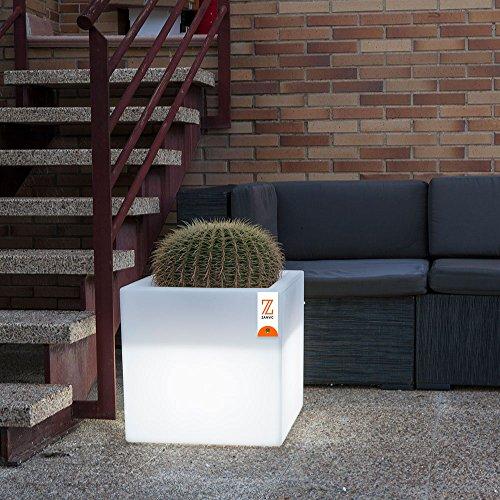 Purline Vaso a Forma Di Cubo Di 40 cm, Colore: Bianco Con Luce E Di Ruote Secchio Ne 40 L