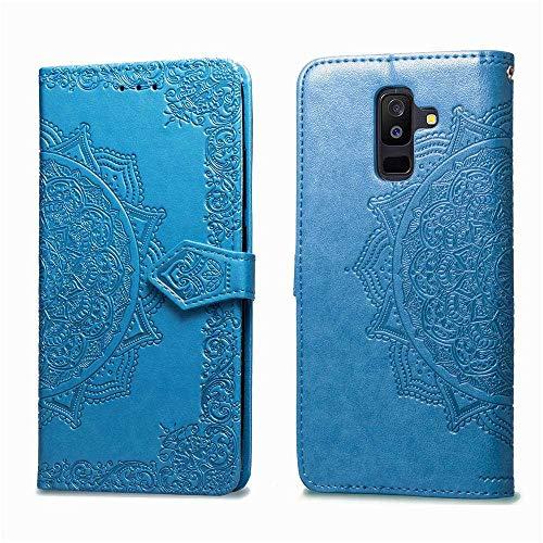 Bear Village Hülle für Galaxy A6 Plus 2018, PU Lederhülle Handyhülle für Samsung Galaxy A6 Plus 2018, Brieftasche Kratzfestes Magnet Handytasche mit Kartenfach, Blau
