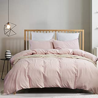 LUX LOVE LIFE LUXURY 3 Pieces Pink Mocha Linen Look Duvet Cover Set   100% Washed Cotton   1 Duvet Cover Set and 2 Pillow ...