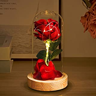 Beauty and Beast Rose, Valentine Gifts for Her with Battery Powered, Enchanted Rose That Last Forever in A Glass Dome with Gift Box & Card for Mother's Day and Some Special Days(Wooden Base)