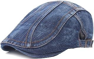 Quanhaigou Unisex Denim Newsboy Hats Flat Ivy Gatsby Cabbie Driving Berets Hat Cotton Dad Cap for Men Women