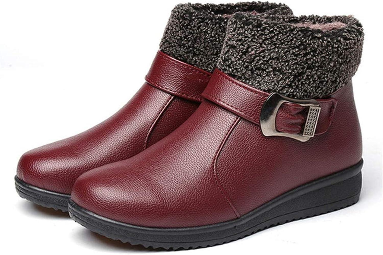 JOYBI Women Winter Waterproof Ankle Boots Zip Warm Buckle Ladies Faux Leather Outdoor Short Snow Boots
