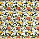 Ambesonne Fahrrad-Stoff von The Yard, Fahrrad-Skizzen,