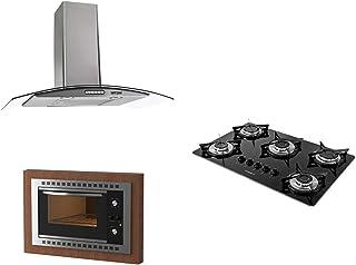 Kit Fogatti Coifa Parede 80cm + Cooktop V500x + Forno Embutir F450 Black 110V