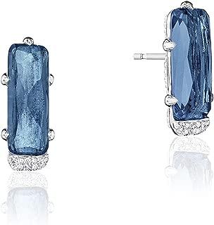 SE24933 Sterling Silver London Blue Topaz Emerald-Shaped Gem Earrings