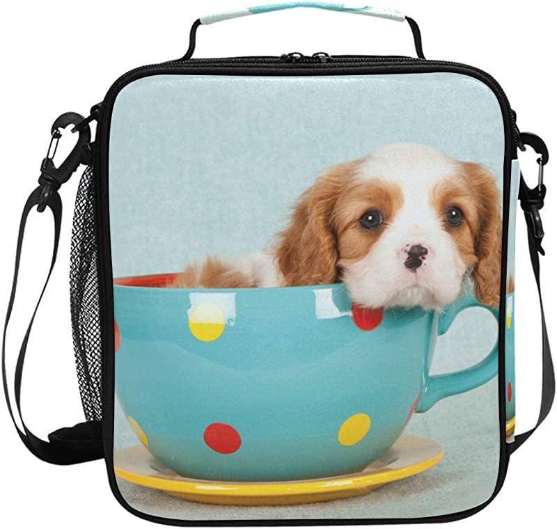 Cavalier King Charles Spaniel Puppy Lunch Box Tote Reusable Insulated School Cooler Bag