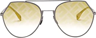 Fendi Men's FF0194S554N1UB Yellow Metal Sunglasses