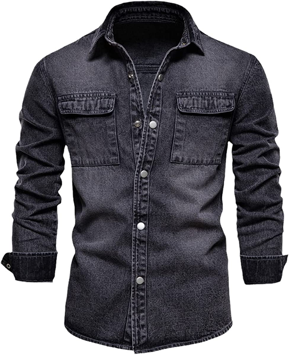 100% Cotton Denim Shirt Men's Casual Solid Color Thickened Long-Sleeved Shirt Spring Jeans Men's Shirt