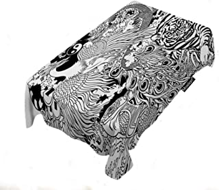 Moslion Animals Tablecloth 52x70 Inch Dragon Phoenix Turtle Tiger Mythological Creatures Tattoo Feng Shui Rectangle Tablecloth Picnic Tablecloth BBQ Table Cloths Polyester for Kitchen